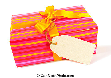 Candy stripe present with yellow gold ribbon and blank gift...