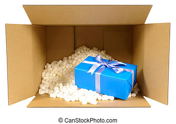 Cardboard shipping delivery box with blue gift inside and...