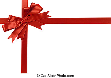 Red gift bow and ribbon isolated on white background