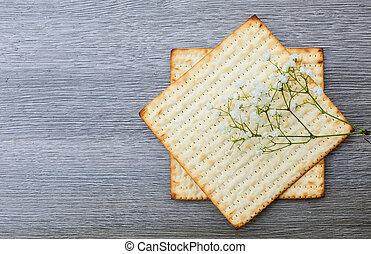 Jewish holiday Matzoh - jewish passover bread - Pesach...