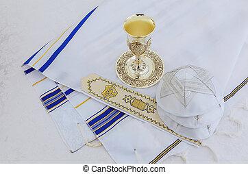 Prayer Shawl - Tallit, jewish religious symbol - Jewish...