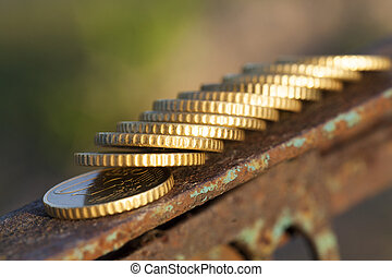 Euro photographed close up - photographed close-up coins of...