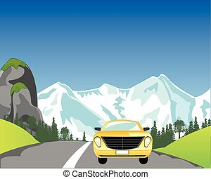 Car on mountain road