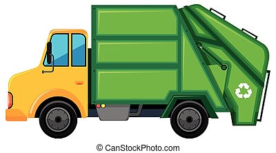 Rubbish truck with green container illustration