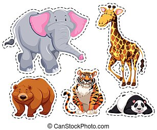 Set of different wild animals