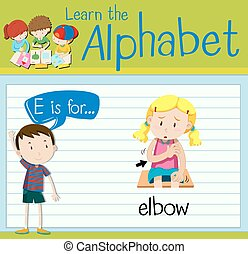 Flashcard letter E is for elbow illustration