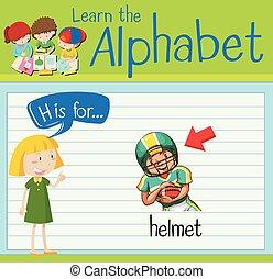 Flashcard letter H is for helmet