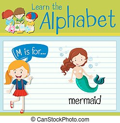 Flashcard letter M is for mermaid illustration