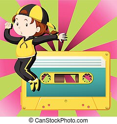 Girl dancing and casette tape illustration