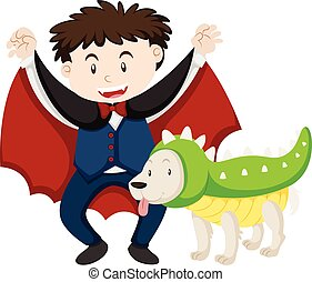 Boy dressed as vampire and dog as dinosaur