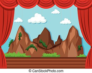 Stage background with mountain and grass illustration