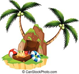 Island with two coconut trees and briefcase