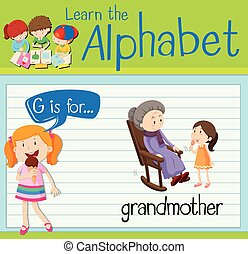 Flashcard letter G is for grandmother illustration