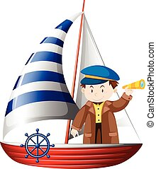Captain sailing ship at sea illustration