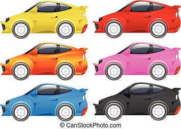 Racing cars in six different colors illustration
