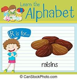 Flashcard letter R is for raisins illustration