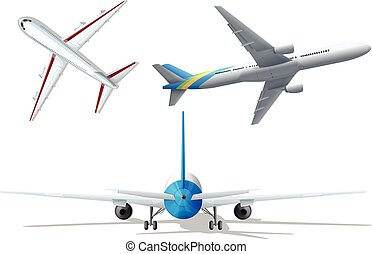 Different angle of the airplanes illustration