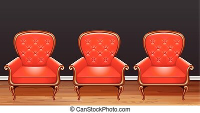 Three red armchairs in room