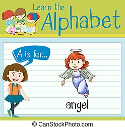Flashcard letter A is for angel illustration
