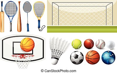Sport equipments and different goals illustration