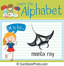 Flashcard letter m is for manta ray illustration