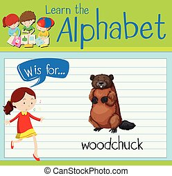 Flashcard letter W is for woodchuck illustration