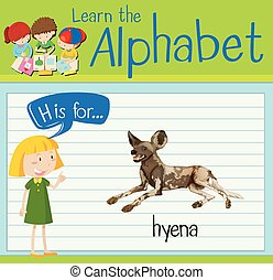 Flashcard letter H is for hyena illustration