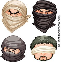 Terrorists and victims on white background illustration