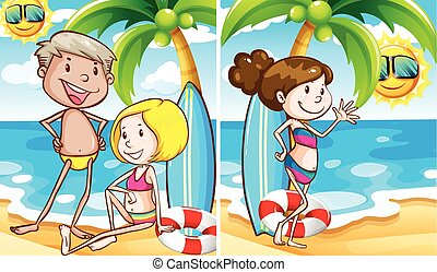 Two scenes of people on the beach illustration