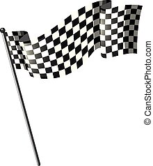 Racing flag on black pole illustration