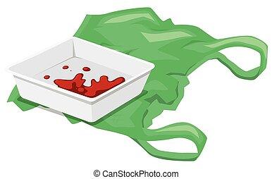 Leftover food and plastic bag illustration