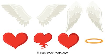Angel wings and heart illustration