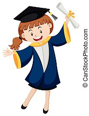 Girl in blue graduation gown