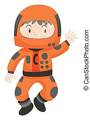 Kid in spacesuit waving hello illustration
