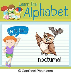 Flashcard letter N is for nocturnal illustration