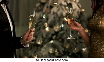 Two young people celebrating New Year , holding two glasses with champagne.