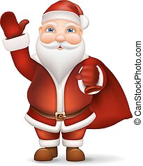 Santa with a bag of gifts behind the back waving his hand -...