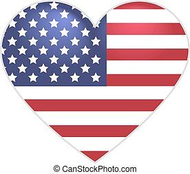 Symbol US flag heart shape. Isolated on white vector icon...