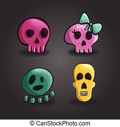 Set of cartoon skulls