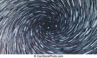 Colorful night sky. Long lines. Spiral. Zoom. Russia