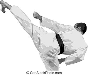 The sportsman in a kimono with a black belt does a high kick