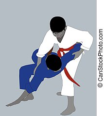 Two athletes in different karategi - The athlete in a white...