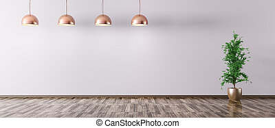 Room with copper metal lamps 3d rendering - Empty interior...
