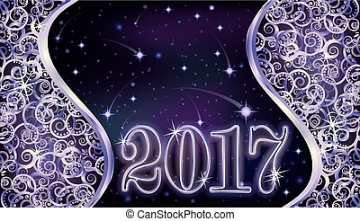 Happy 2017 new year silver background, vector illustration