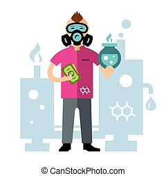 Vector Chemical laboratory. Flat style colorful Cartoon...