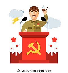 Vector Soviet leader parodic character. Flat style colorful...