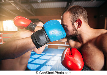 Boxers strike blows. - Boxers strike blows to each other....