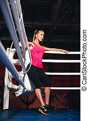 Woman on the boxing ring