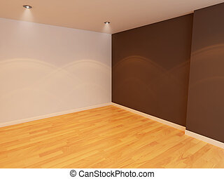Empty room color wall with wooden floor