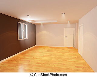 Empty room color wall with wooden floor,